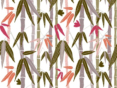 Pattern bamboo bamboo tree floral plant forest jungle tropical asian asia tropical leaves procreate illustraion design pattern vines hand drawn