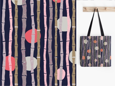 Pattern bamboo stems polka dot stripes bag printshop surfacedesign vines forest design illustration circle seamlesspattern polkadot stems patternt bamboo