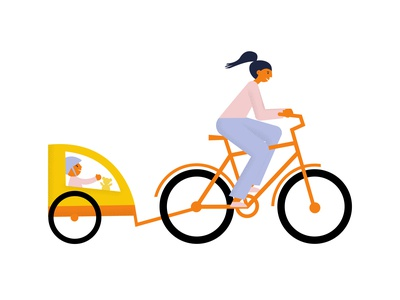 Bike riding illustration mother passenger toddler bike ride rider cycle bike bakfiets vector flat illustration