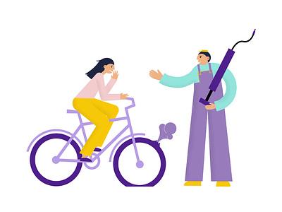 Bike service illustration biker texture wheel pump repair design geometric vector flat illustration flat tire bicycle cycle bike