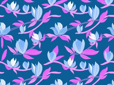 Blue Magnolia blossoms branch blossom print flower blue magnolia surface design seamlesspattern floral pattern floral design illustration