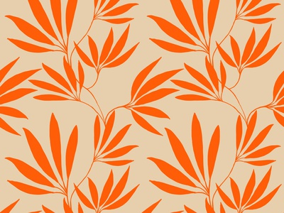 Electric tangerine leaves electric tangerine beige leaves orange floral plant design flat illustration surfacedesign pattern