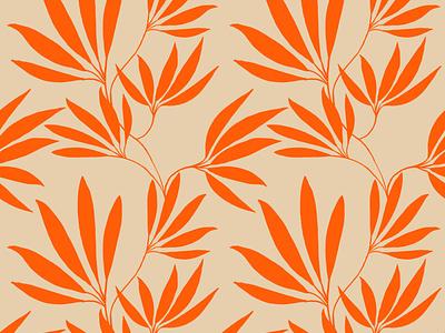 Electric tangerine leaves electric tangerine beige leaves orange floral plant design flat illustration surfacedesign pattern