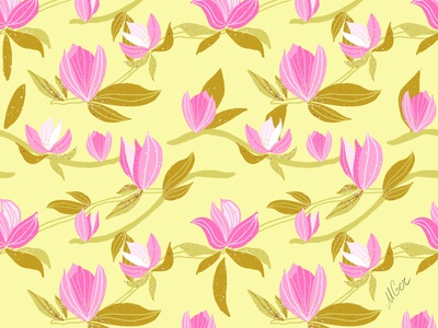 Pink Magnolia on yellow ornament nature spring blossom bloom flowers pink yellow print pattern surfacedesign magnolia floral illustration