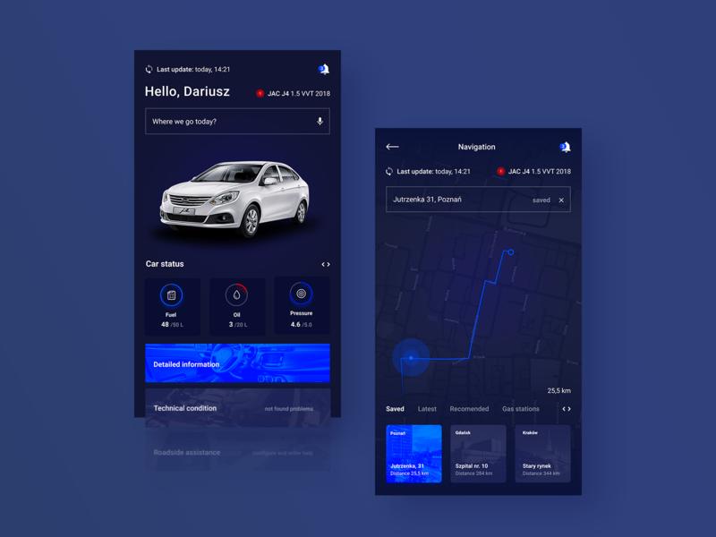 Smartcar - Intelligent management 🚗 dashboard design ux ui interface mobile app android car managment platform