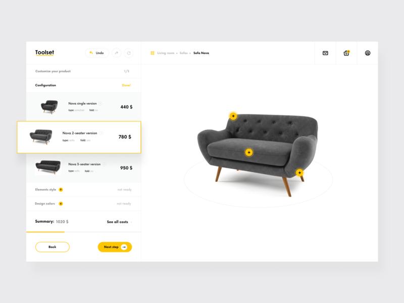 Toolset - products customization customization product application platform web ux interface ui designer design