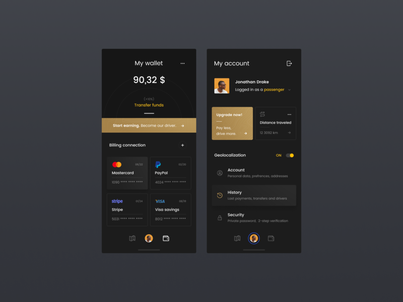 Taxi app #2 - wallet 🚕🌛 concept figma dark ios iphone app taxi designer interface design ux ui