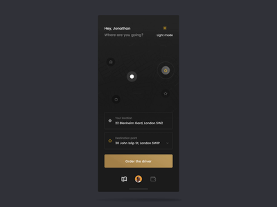 Taxi app #3 - order 🚕 after effect interaction mobile motion ios app taxi concept mode dark designer interface design ux ui