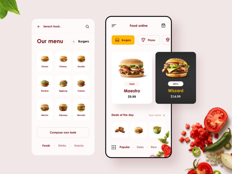 Food Online App 🍔 online food hamburger vegetables order food app mobile app designer design ux ui
