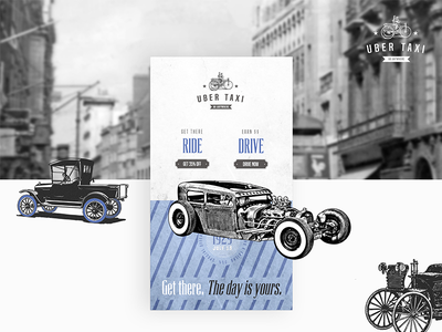 Uber Taxi UI Design ui design photoshop ride cars taxi old-school vintage uber graphics ui