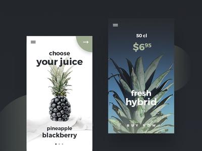 Juice Shop UI Design by Dreamify Design digital design user interface ui design montserrat fruit juice ecommerce shop