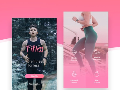 Fitless UI Design - More Fitness. For Less. digital design design concept training app pink ux design ui design fitness app