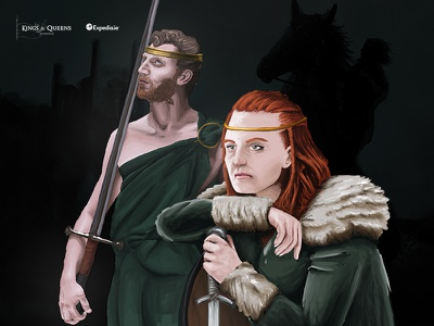 Irish Kings and Queens – Conchobar and Maeve travel queens and kings irish illustration