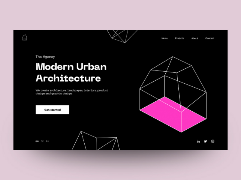 Agency architecture trend minimal landing page home page design website ui ux