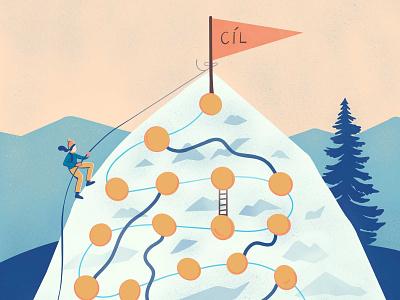 Mountain climbing climbing childrens illustration board game illustration