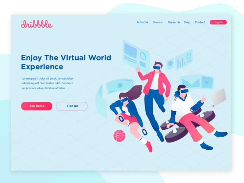Virtual Reality Web Header Concept header flatdesign flat virtualreality ui illustration webheader debut shot webdesign web debutshot debuts