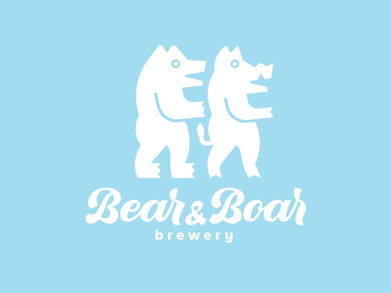 Logodesign for Bear&Boar Brewery. logo logotype beer characters identity logodesign