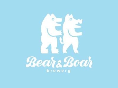 Logodesign for Bear&Boar Brewery. logo logotype beer characters identity logodesign