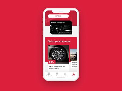 Porsche Group Card mobile app bills test drive vehicles ios pgc pgc animation android news offers car service bonuses home profile loyalty membership program ux ui app card