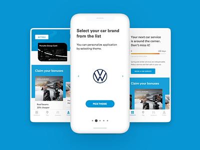 Porsche theme picker select volkswagen seat pgc porsche vw škoda audi list loyalty animation brand choose picker theme ux ui app card car