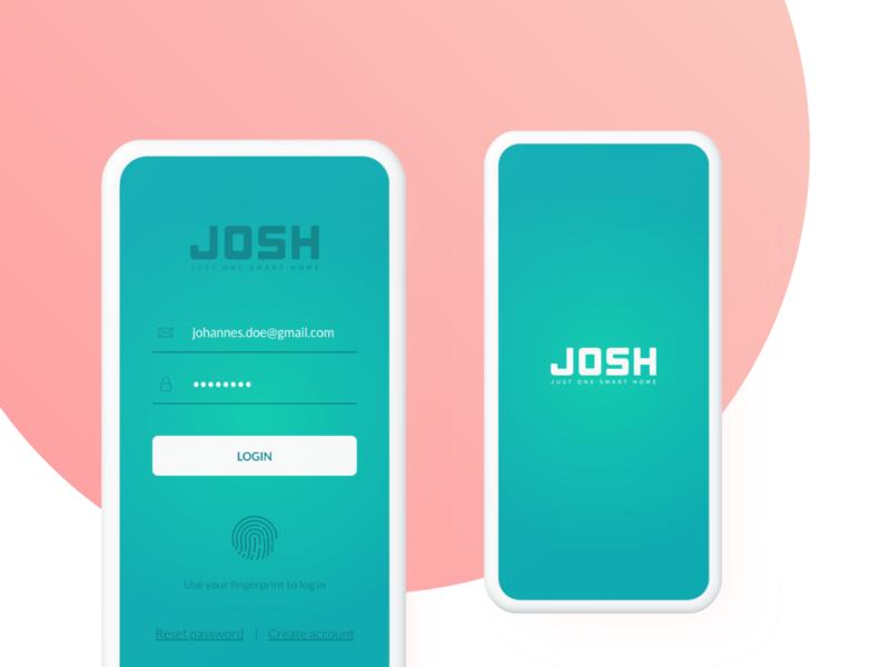 Login | Just One Smart Home (JOSH) josh smart home app ux ui fingerprint ios android login splash smart home device