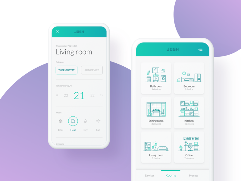 Rooms | Just One Smart Home (JOSH) josh add device living room heat smart living room mode temperature thermostat ux ui ios android dashboard appliance edit settings list room smart home device