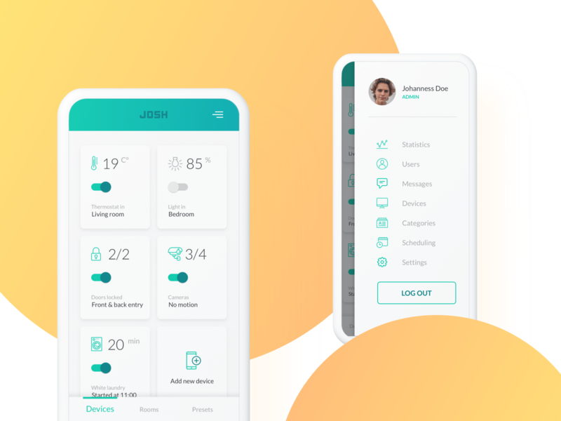 Devices | Just One Smart Home (JOSH) activate time camera smart door lights thermostat josh add new device light temperature dashboard ios android uiux ui logout admin navigation smart home device