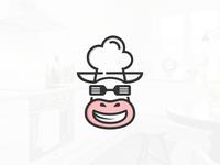 Backup zwallow cow head chef logo concept