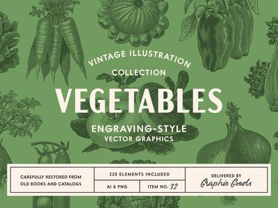 220 Vintage Vegetable Illustrations