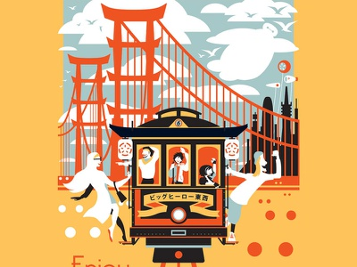 Enjoy San Fransokyo disneyland disney art baymax superhero marvel san fransokyo trolley fan art poster travel poster san francisco big hero 6 disney