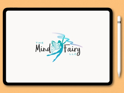 The Mind Fairy watercolor typography signature logo design illustration branding logo unique modern logo design