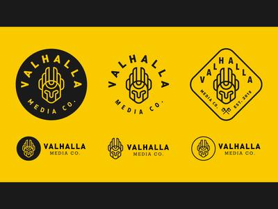 Valhalla Logo Concepts typography yellow valhalla viking icon branding illustration logo