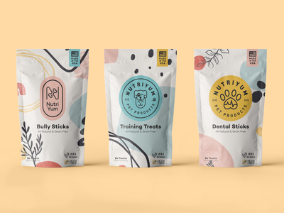 NutriYum Logo Concepts branding cat dog treats pet packaging logo