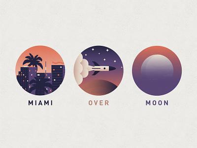 Miami Over Moon space rocket miami moon illustration