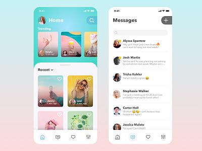 Socialize - App Concept social media design application mobile design ui gradient clean ux social media app