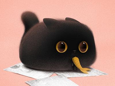 Gimo digital painting cat illustration illustration kawaii cute cat