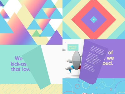 Colorful Experience triangles hello innovation website landing page flat neuzeit colorful geometric diamonds