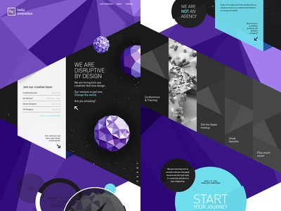 Agressive Polygons website hello innovation scroll low poly mesh polygons layout landing page