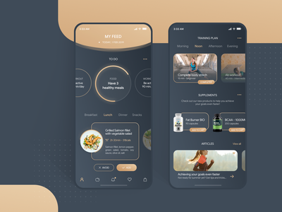 Fit app uxdesign mobile design ux ui workout sport recipe food healthy food coach app gradient dark healthy living fitness app health app healthy lifestyle fitness