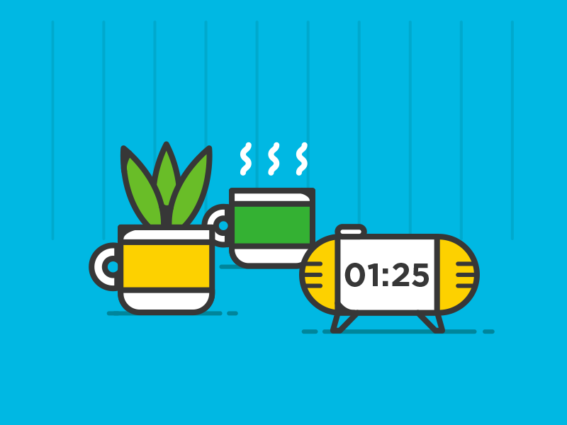 efficiency video details office wall desk alarm clock tea cup plant details