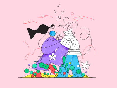Picnic Dance Date for Ueno date flowers music couple love mouse girl picnic dance