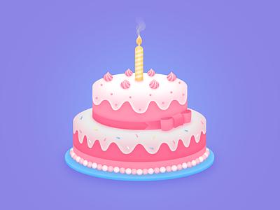 Happy birthday sweet illustrations candle cake birthday