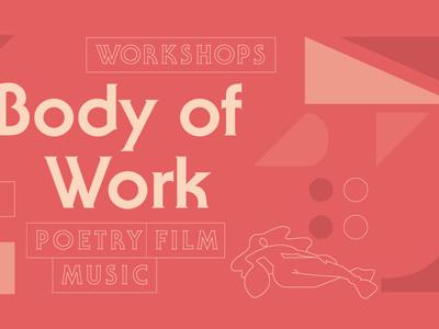 Body of Work geometric typographic red monochrome illustration