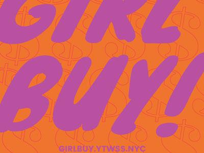 Girl Buy organge purple brush script typography graphic vector