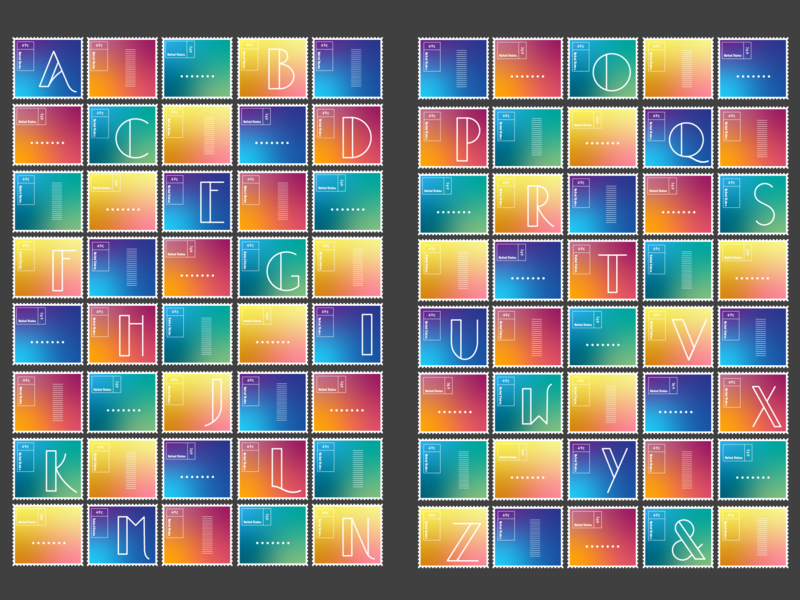 Gradient / Letter form Alphabet Postage Stamp Series design adobeillustrator color gradient gradients letterform postage stamp