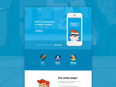 "Dexter's ""The Lab"" Website Design Freebie + PSD freebie psd psd freebie ux ui web website download free dexter fun flat"
