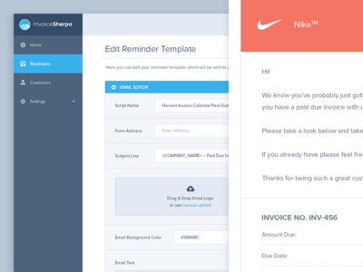 Invoice Sherpa Email Template Editor By Balkan Brothers Dribbble - Invoice reminder software