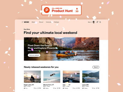 WKND - Launched on Product Hunt graphic design motion graphics animation app platform interface design saas b2c startup traveling design system ui kit visual identity user experience user interface web design website product design ux ui