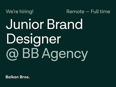 Join BB Agency as a Junior Brand Designer! agency join us hring open position designer brand designer junior brand designer visual identity print design motion graphics graphic design logo branding brand