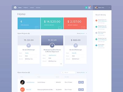 Tackkle Dashboard - Freelancing Tool(WIP) ui ux user interface web interface design analytics dashboard flat clean invoice app